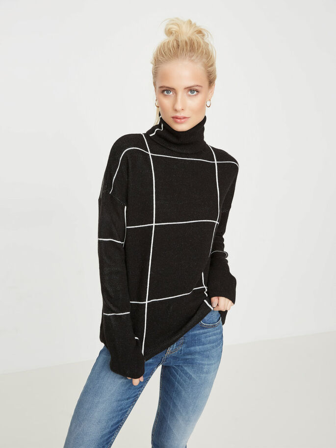 LONG-SLEEVED TURTLENECK, Black, large