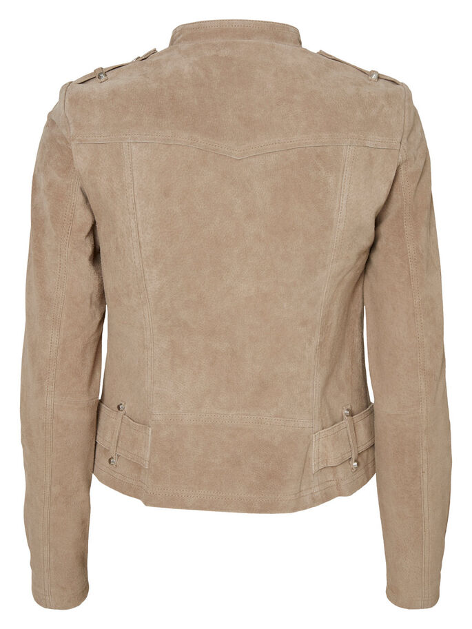 SHORT SUEDE JACKET, Silver Mink, large