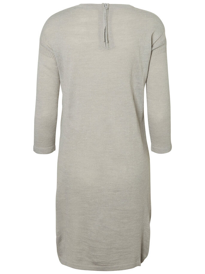 KNITTED SHORT DRESS, Light Grey Melange, large