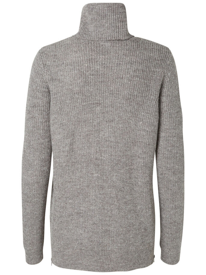 POOLOKAULUKSELLINEN NEULEPAITA, Medium Grey Melange, large