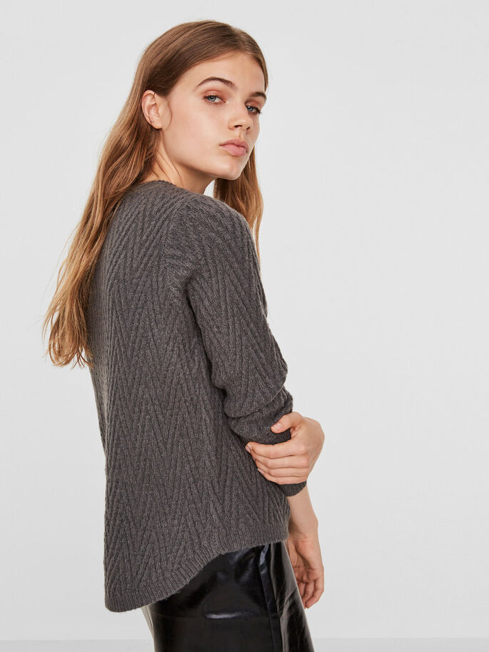 LONG SLEEVED KNITTED PULLOVER, Dark Grey Melange, large