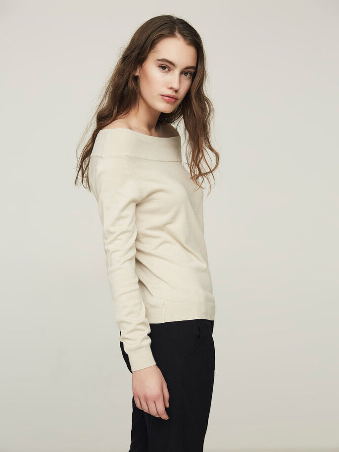 CASUAL LONG SLEEVED BLOUSE, Oatmeal, large
