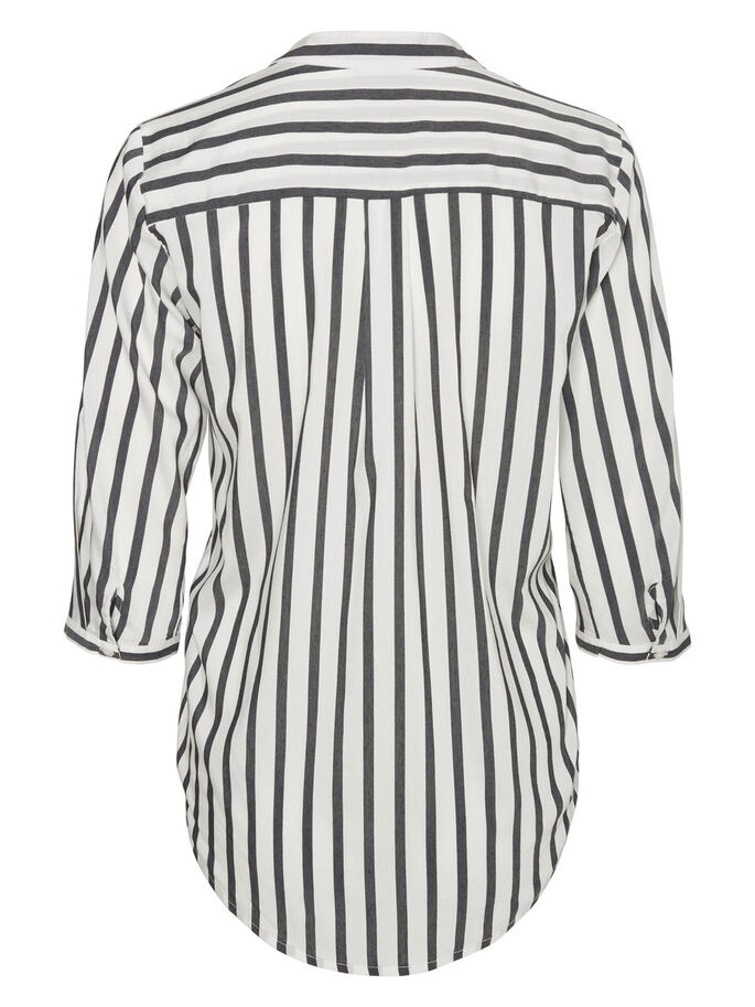 STRIPED 3/4 SLEEVED SHIRT, Snow White, large