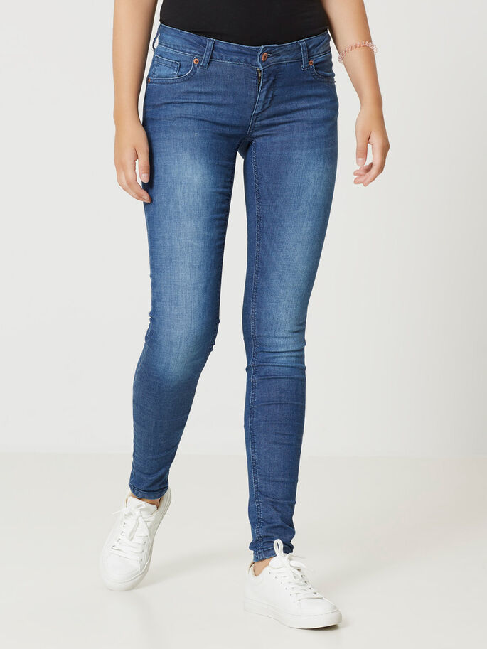 FIVE LW PUSH UP SKINNY JEANS, Medium Blue Denim, large