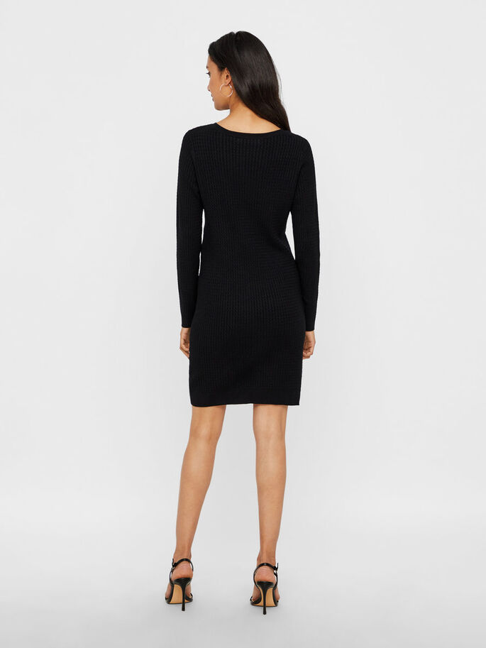 KNITTED LONG SLEEVED DRESS, Black, large