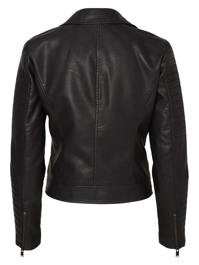 IMITATION LEATHER JACKET, Black, large