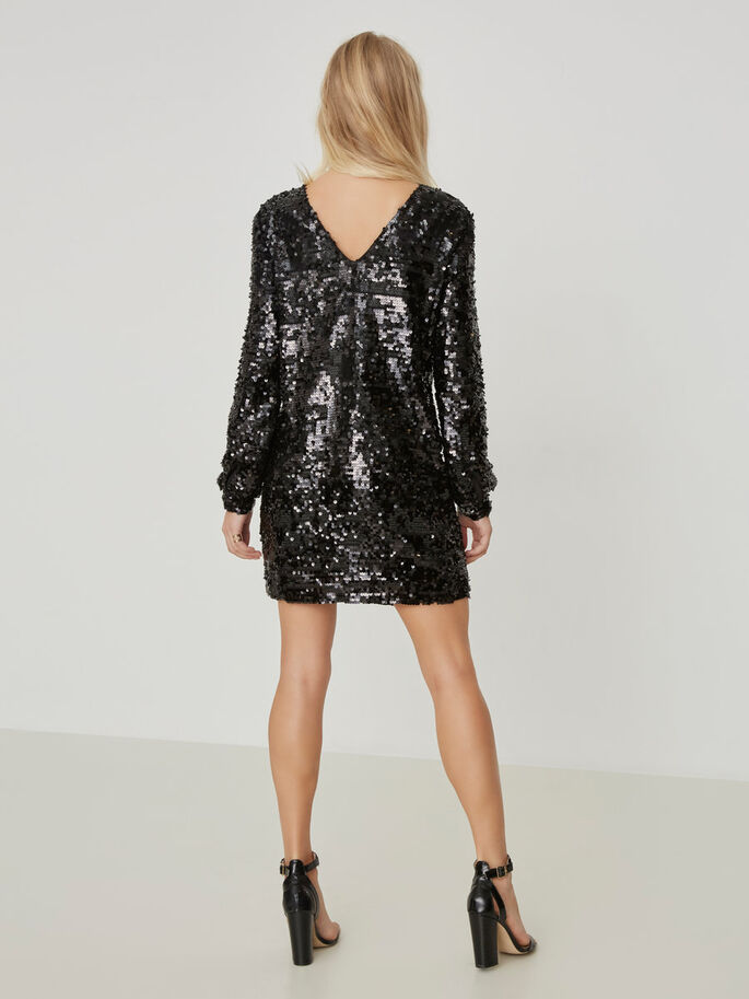 SEQUINED PARTY DRESS, Black, large