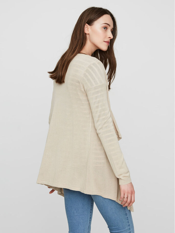 MANCHES LONGUES CARDIGAN, Oatmeal, large