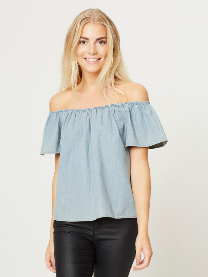 OFF-SHOULDER- BLUSE, Medium Blue Denim, large