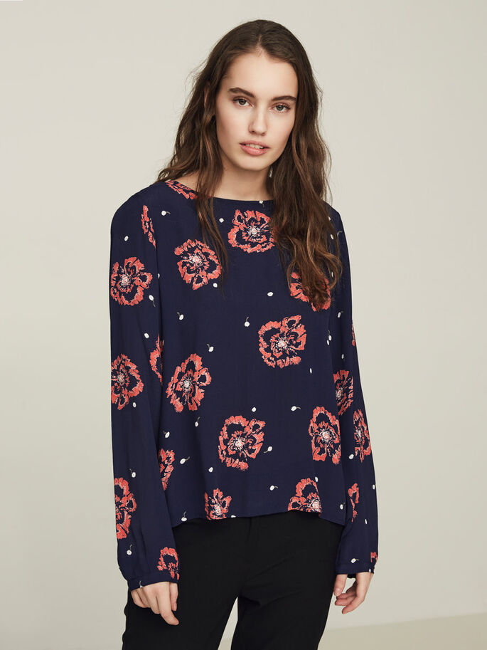 FLOWER LONG SLEEVED BLOUSE, Peacoat, large