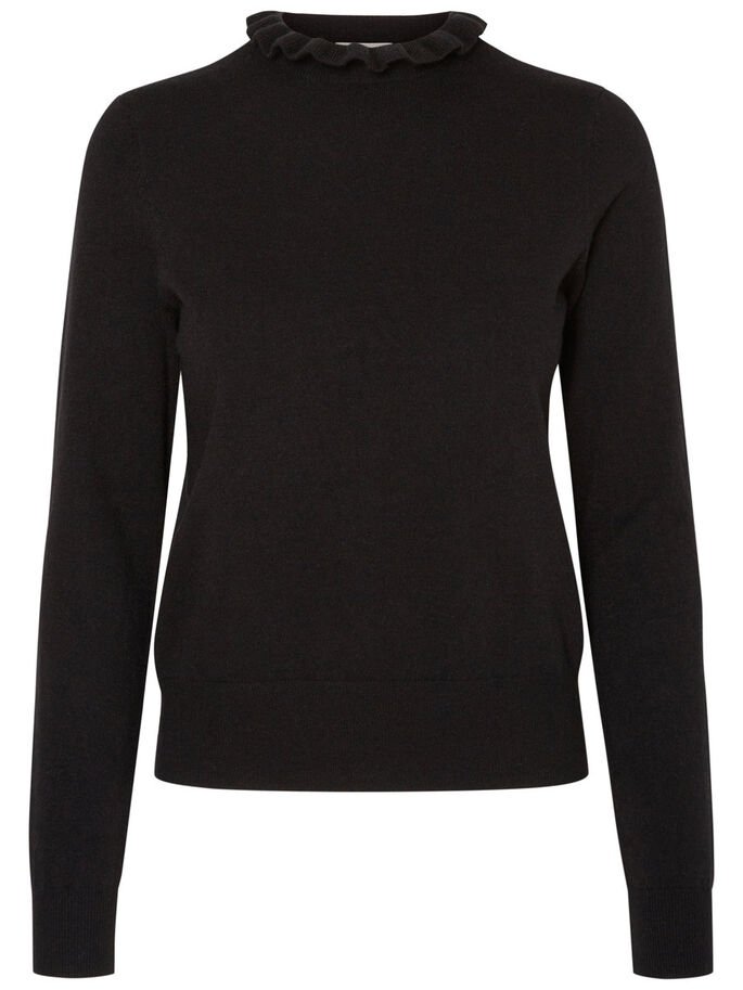 DETAILREICHER STRICKPULLOVER, Black Beauty, large