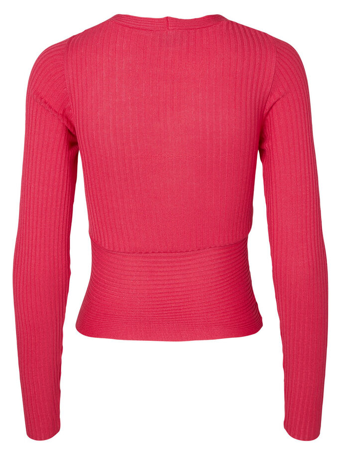 KNITTED LONG SLEEVED TOP, Rouge Red, large