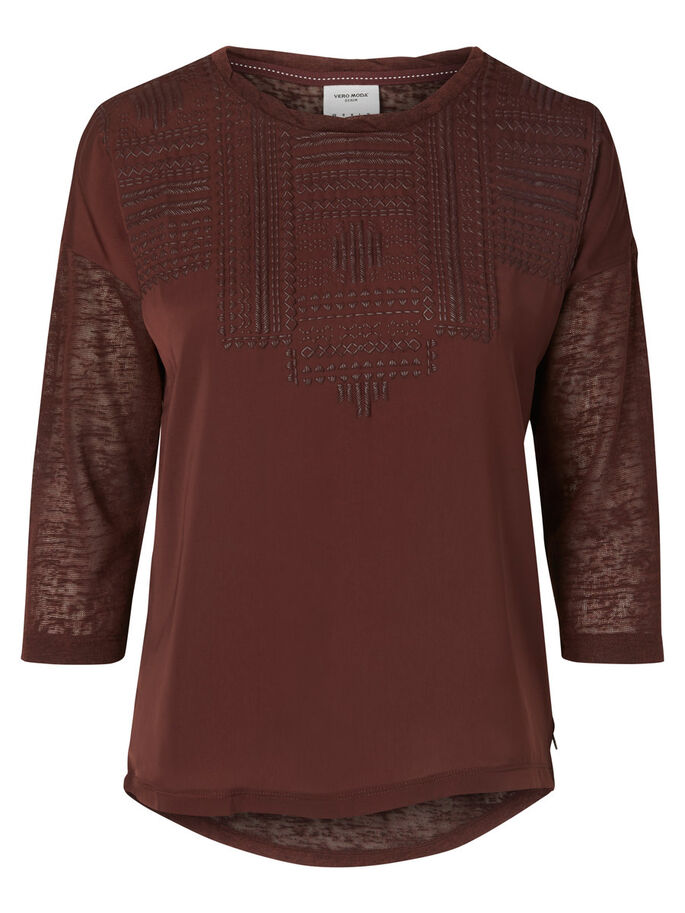 MANCHES 3/4 BLOUSE, Decadent Chocolate, large