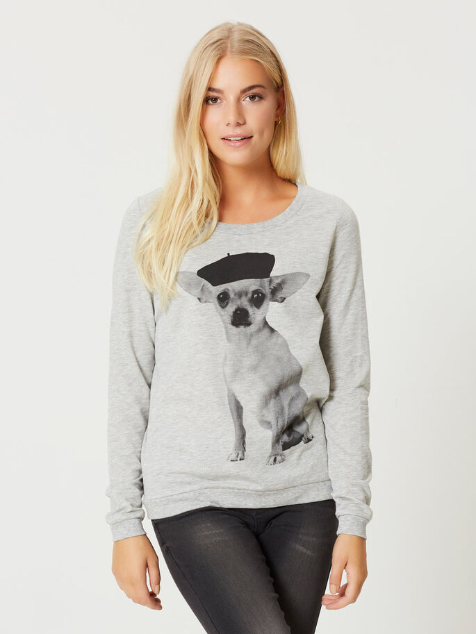 PRINTED SWEATSHIRT, Light Grey Melange, large