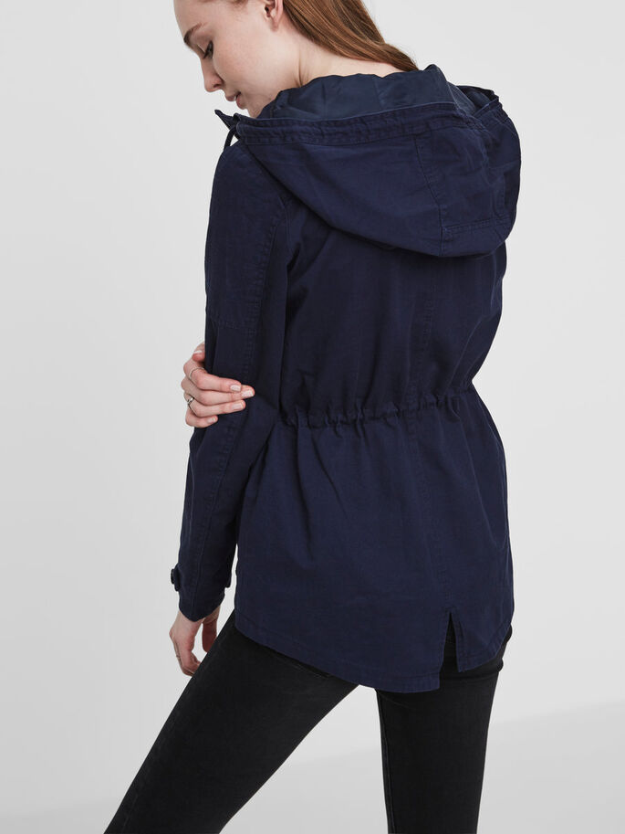 SHORT PARKA COAT, Black Iris, large