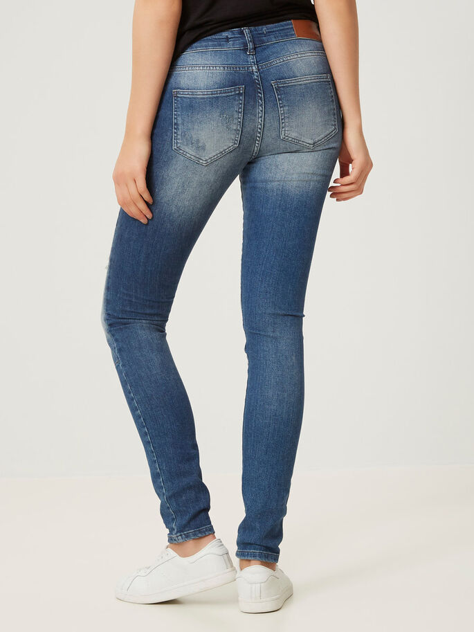 LUCY LW DESTROYED SKINNY JEANS, Medium Blue Denim, large