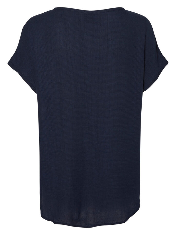 FEMININE SHORT SLEEVED TOP, Navy Blazer, large