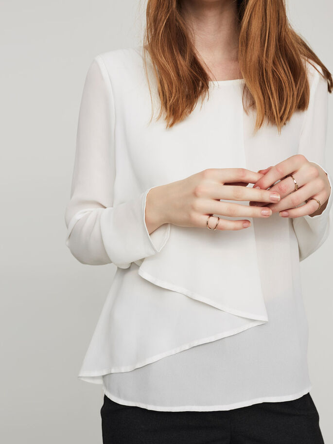DETAILED LONG SLEEVED BLOUSE, Snow White, large