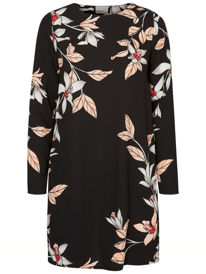 FLOWER LONG SLEEVED DRESS, Black, large