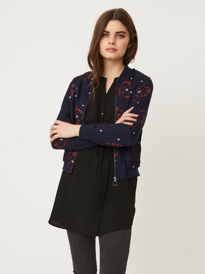 FLOWER BOMBER JACKET, Peacoat, large