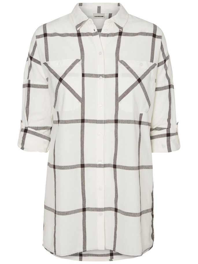 CHEQUERED LONG SLEEVED SHIRT, Snow White, large