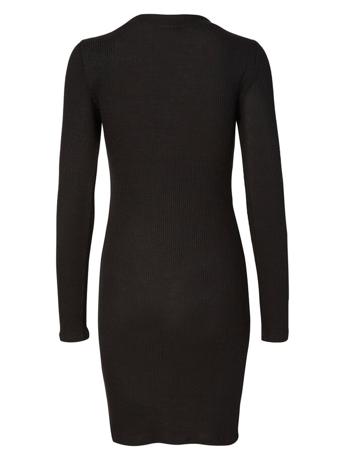 KNITTED SHORT DRESS, Black, large