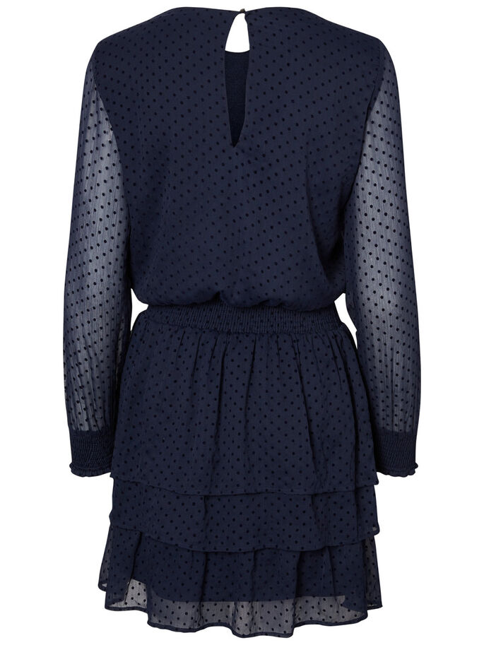 DOTTED LONG SLEEVED DRESS, Navy Blazer, large