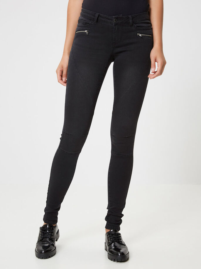 EVE LW BIKER SKINNY FIT JEANS, Black, large
