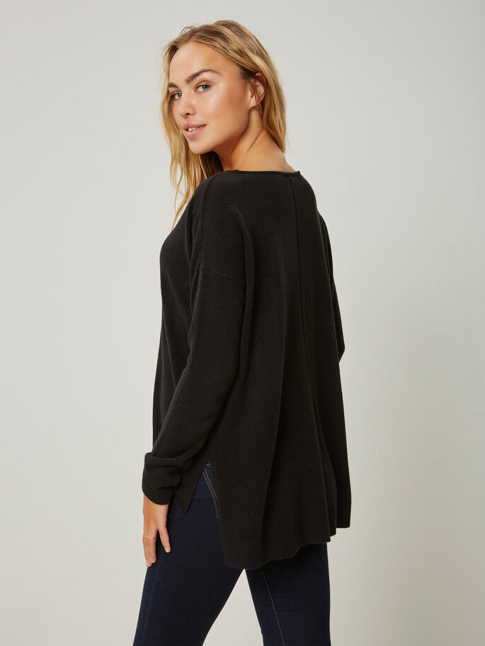 LOOSE FIT KNITTED PULLOVER, Black, large