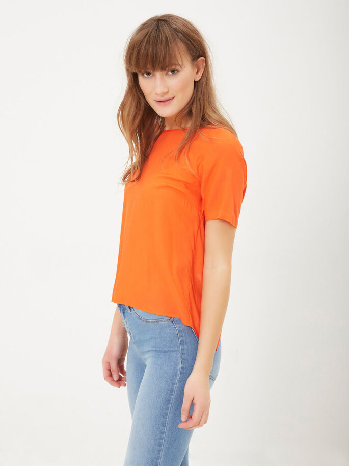 DETAILED SHORT SLEEVED TOP, Mandarin Red, large