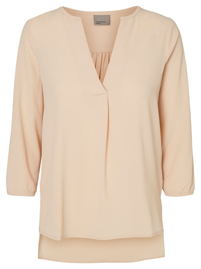 LOOSE FIT BLUSE MED 3/4 ERMER, Ivory Cream, large