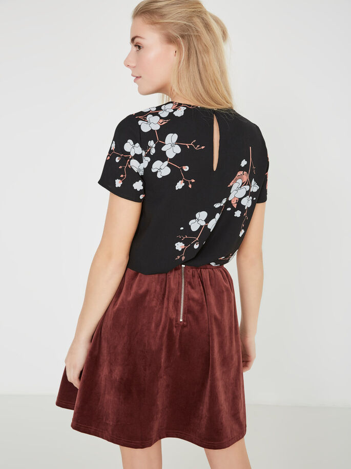 FLOWER SHORT SLEEVED TOP, Black, large