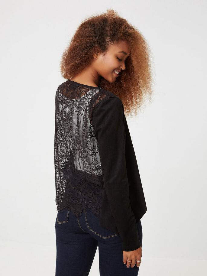 LACE BLAZER, Black, large