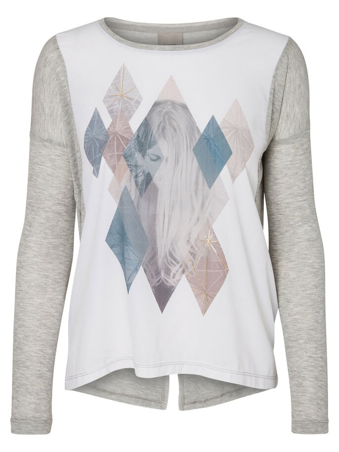 PRINT SHIRT MET LANGE MOUWEN, Light Grey Melange, large