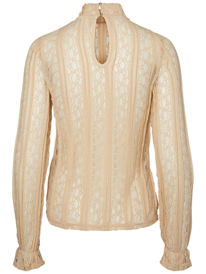 LACE LONG SLEEVED BLOUSE, Ivory Cream, large