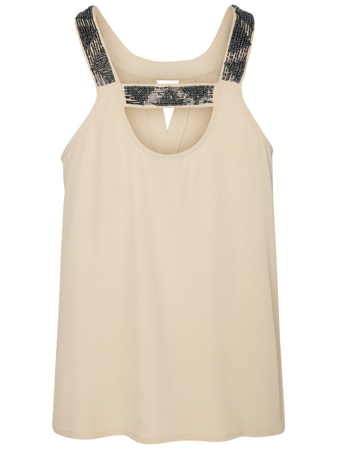 SEQUINED SLEEVELESS TOP, Ivory Cream, large