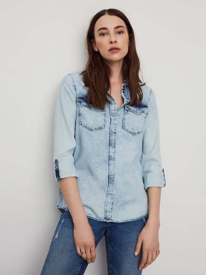 DENIM SKJORTE, Light Blue Denim, large