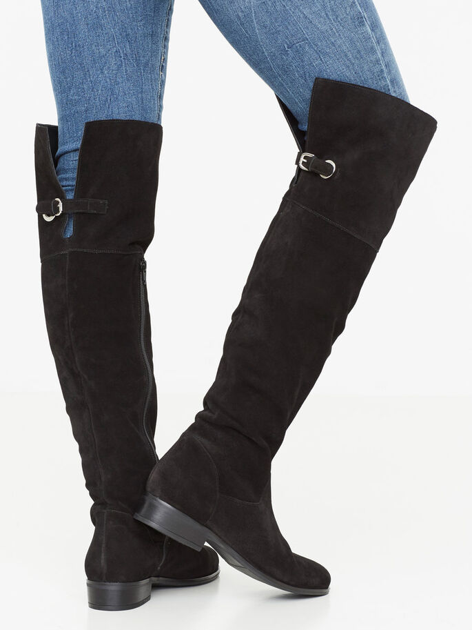 LONG LEATHER BOOTS, Black, large