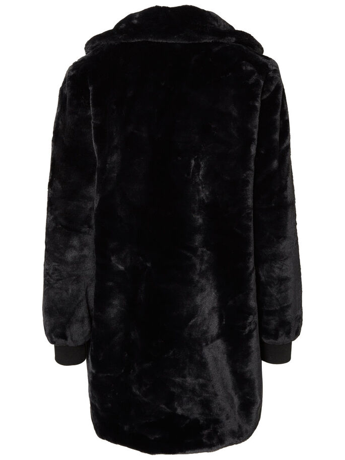 FAUX FUR JAKKE, Black, large