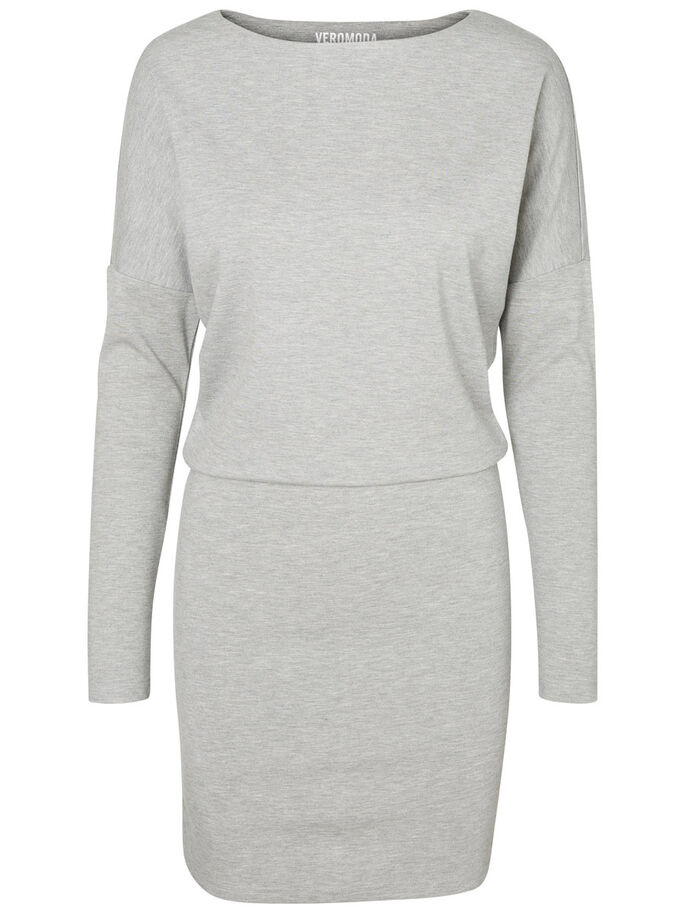 LONG SLEEVED SHORT DRESS, Light Grey Melange, large