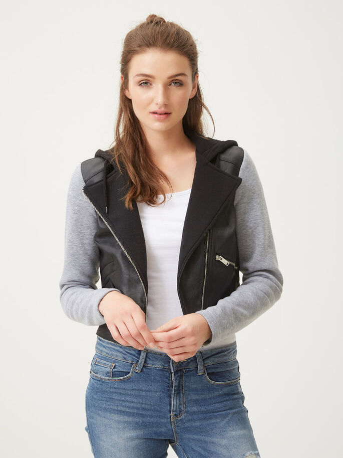 HOODED JACKET, Black, large