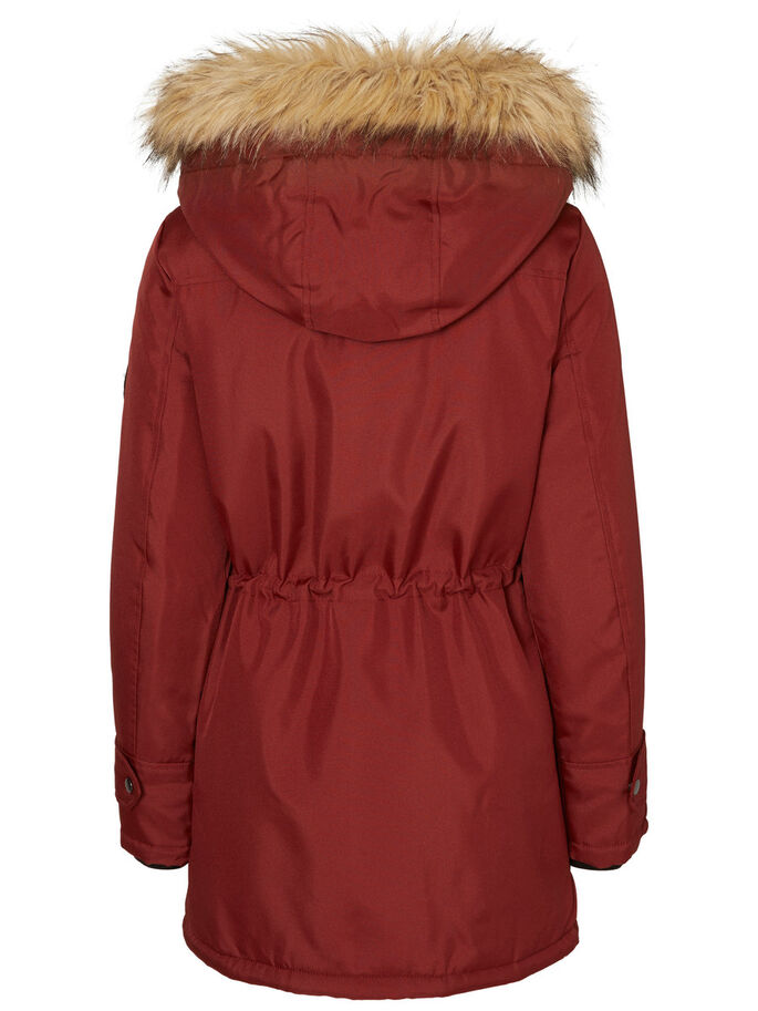FAUX FUR PARKA COAT, Fired Brick, large