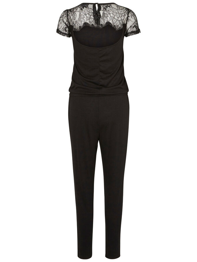 SHORT SLEEVED JUMPSUIT, Black, large