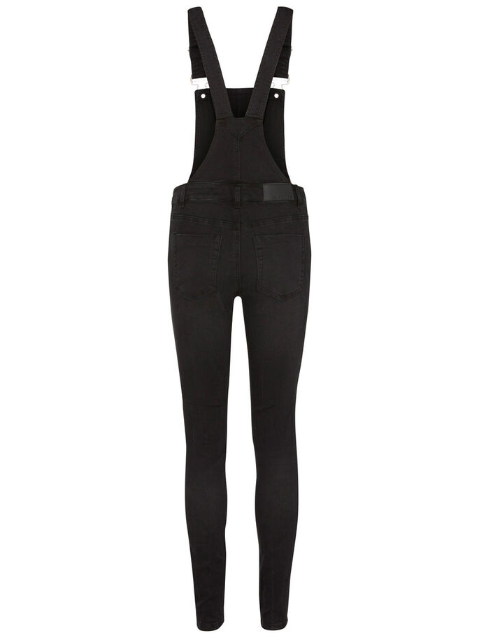 SLEEVELESS DUNGAREES, Black, large
