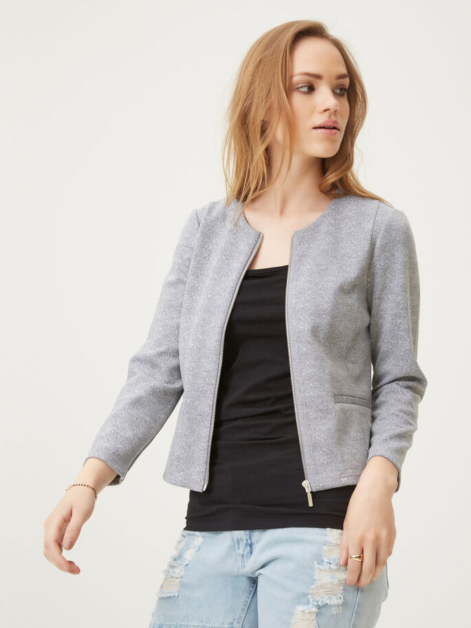 PRINT BLAZER, Light Grey Melange, large
