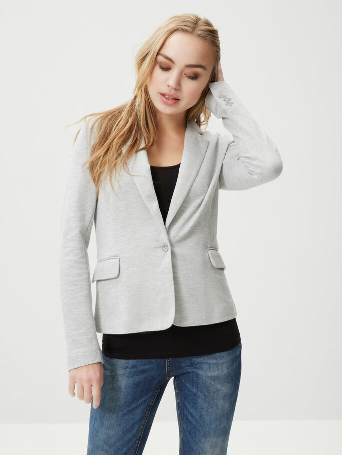 JERSEY BLAZER, Light Grey Melange, large