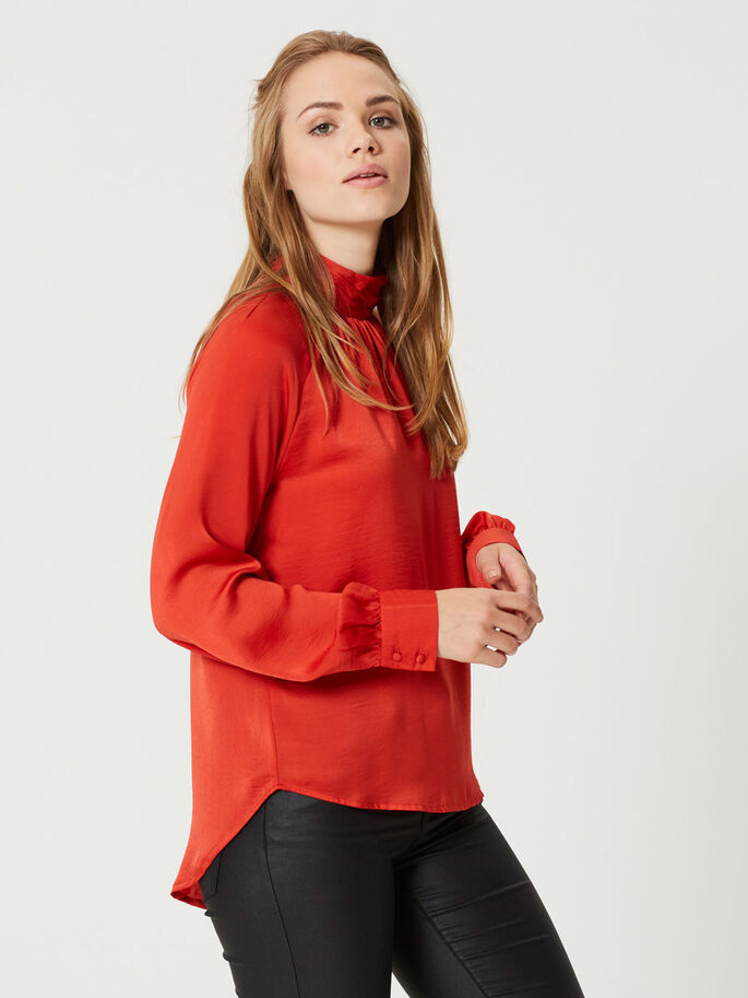 FEMININE LONG SLEEVED TOP, Aurora Red, large
