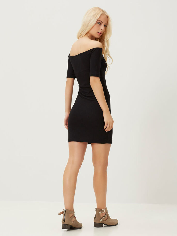 OFF-SHOULDER SHORT DRESS, Black, large