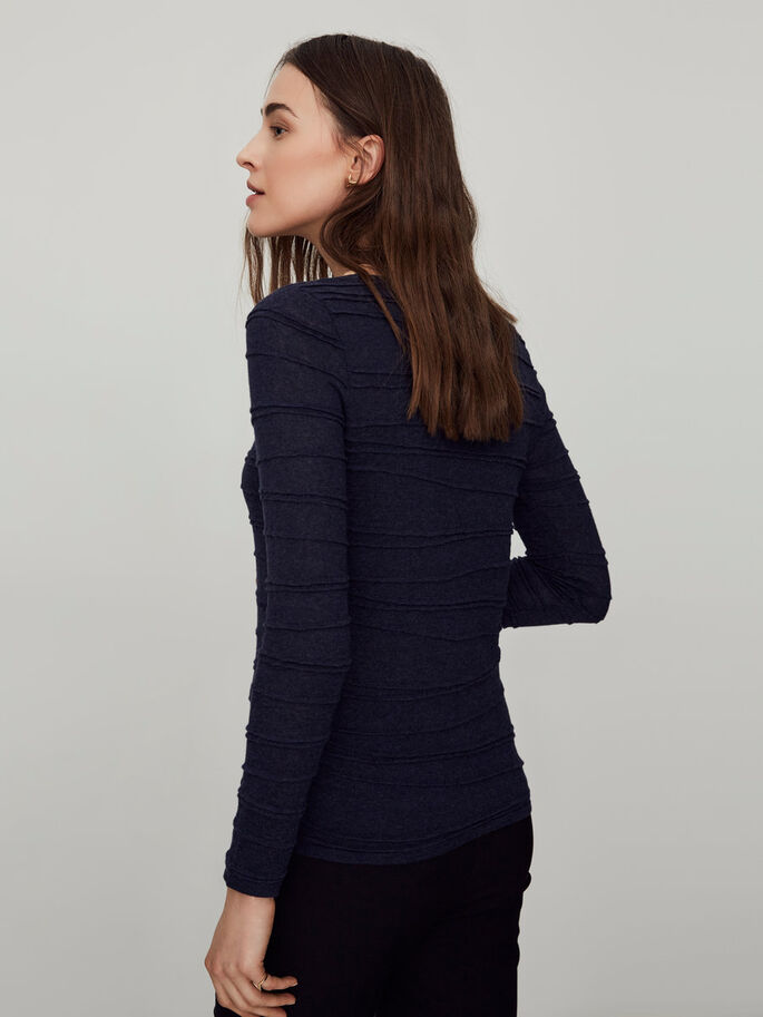 CASUAL LONG SLEEVED BLOUSE, Navy Blazer, large