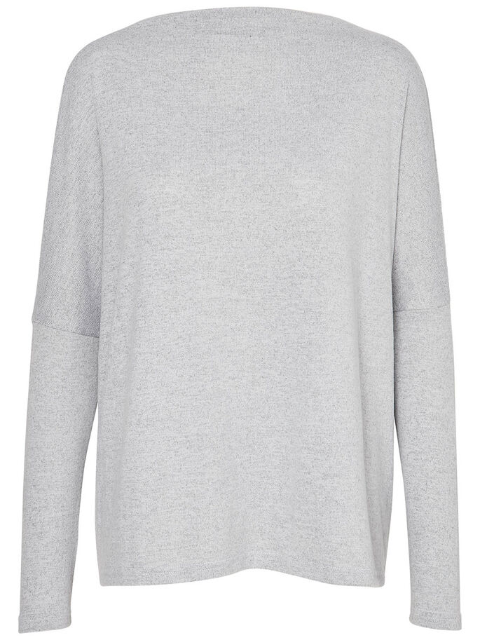 LONG SLEEVED PULLOVER, Light Grey Melange, large